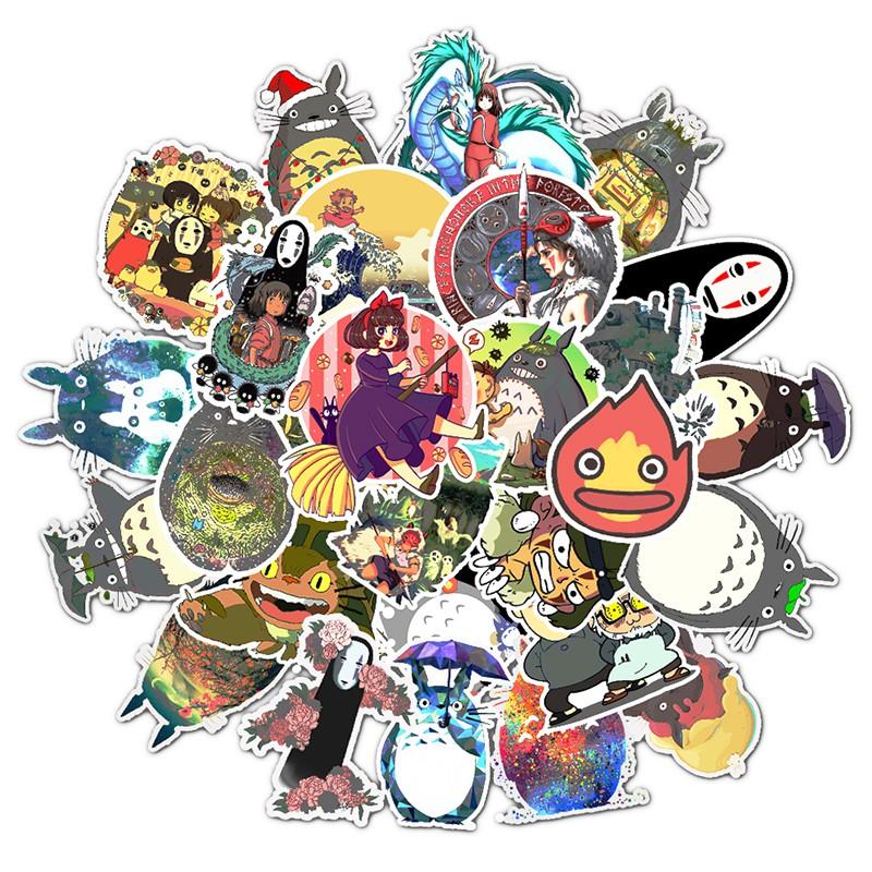Bộ 50 miếng dán phong cách cổ điển hình nhân vật hoạt họa của tác giả Hayao Miyazaki