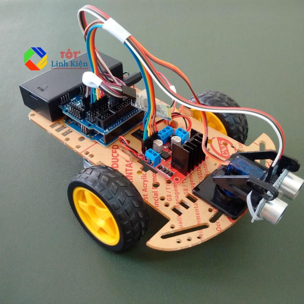 (Kèm code) Bộ xe robot 3 bánh Tránh vật cản L298N DIY – Car