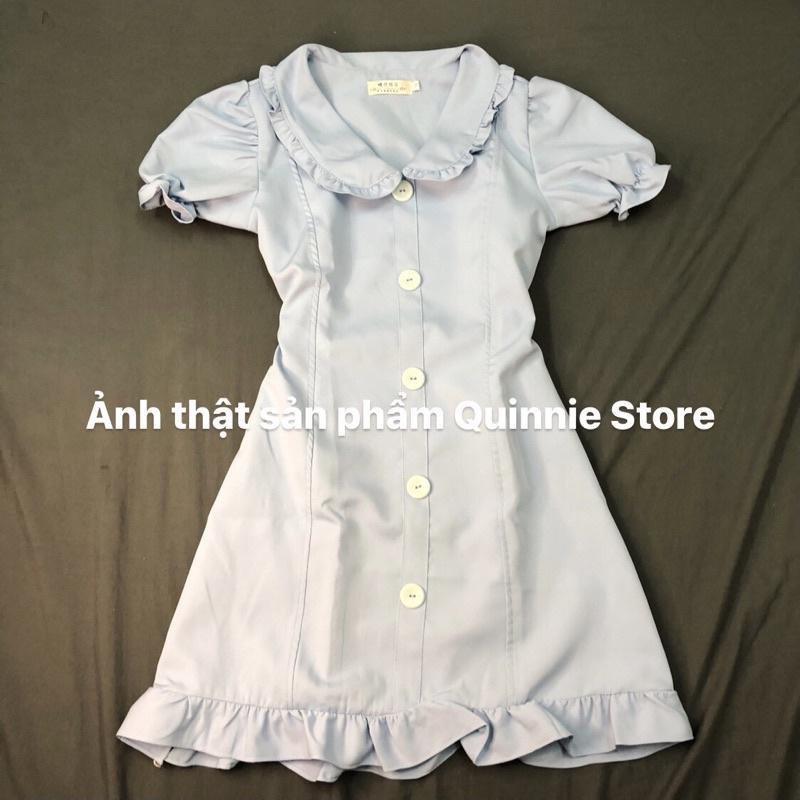 Mặc gì đẹp: Bồng bềnh với Váy sơmi cổ bèo tay phồng màu xanh dương, đầm khoá kéo
