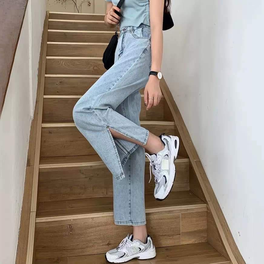 Quần jean nữ ống rộng SIMPLE Xẻ Line phong cách Hàn Quốc
