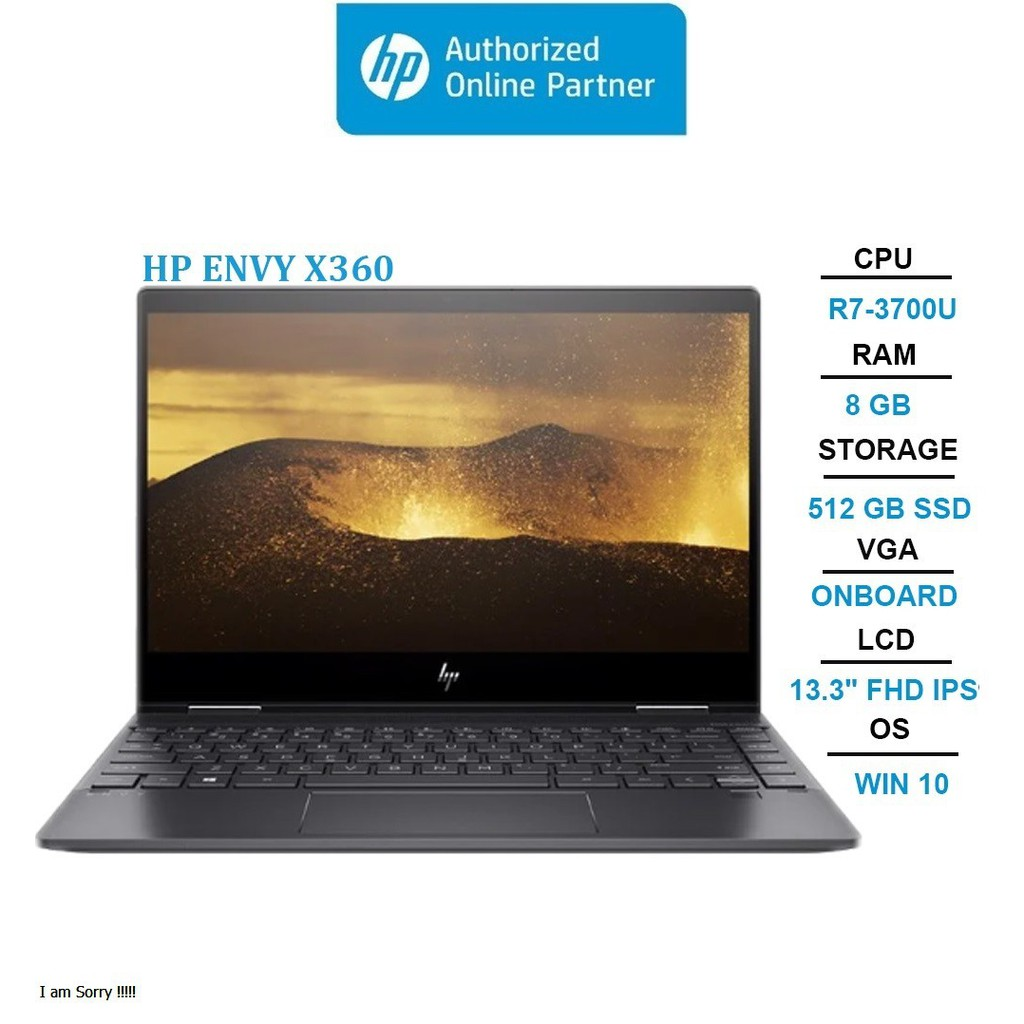 "Laptop HP Envy x360 Convertible 13-ar0116AU (9DS89PA) (R7-3700U | 8GB | 512GB | Radeon Vega 10 Graphics | 13.3"" FHD Touc"