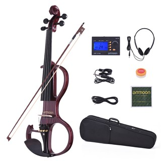 ammoon VE-207 Full Size 4/4 Solid Wood Silent Electric Violin Fiddle Maple Body Ebony Fingerboard Pegs Chin Rest Tailpie