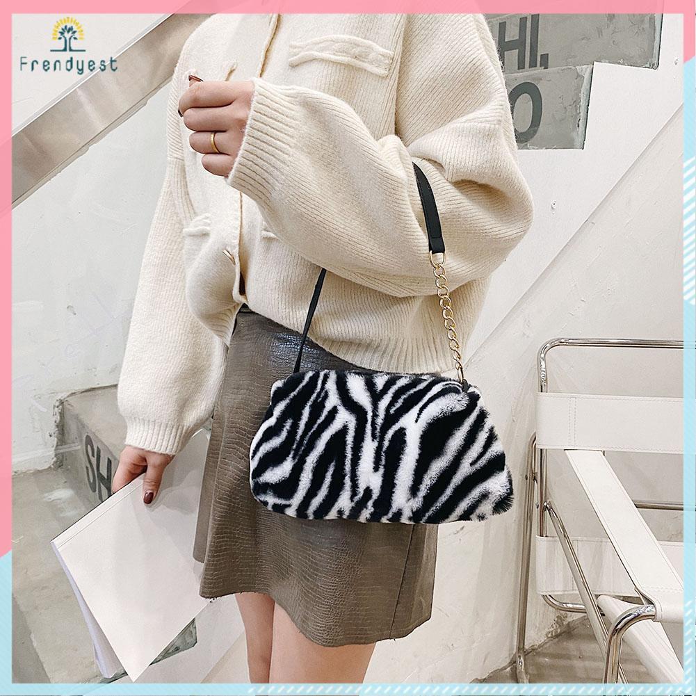 Túi lông nhung xách tay họa tiết da động vật thời trang mùa đông cho nữ