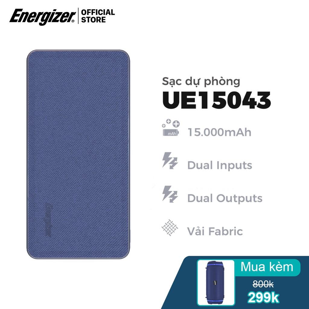 [Mã ELDTRJUL giảm 5% đơn 150K] Sạc dự phòng bọc vải Fabric thời trang Energizer 15000mAh - UE15043