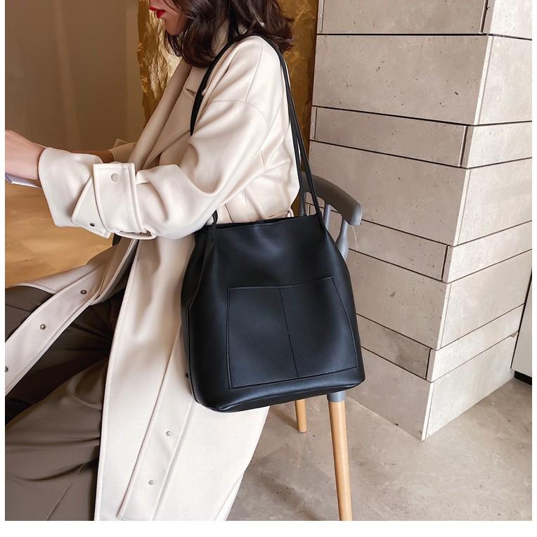 Túi tote da TN817 túi ULZZANG đi học, công sở cỡ lớn vừa A4, khóa bấm thời trang