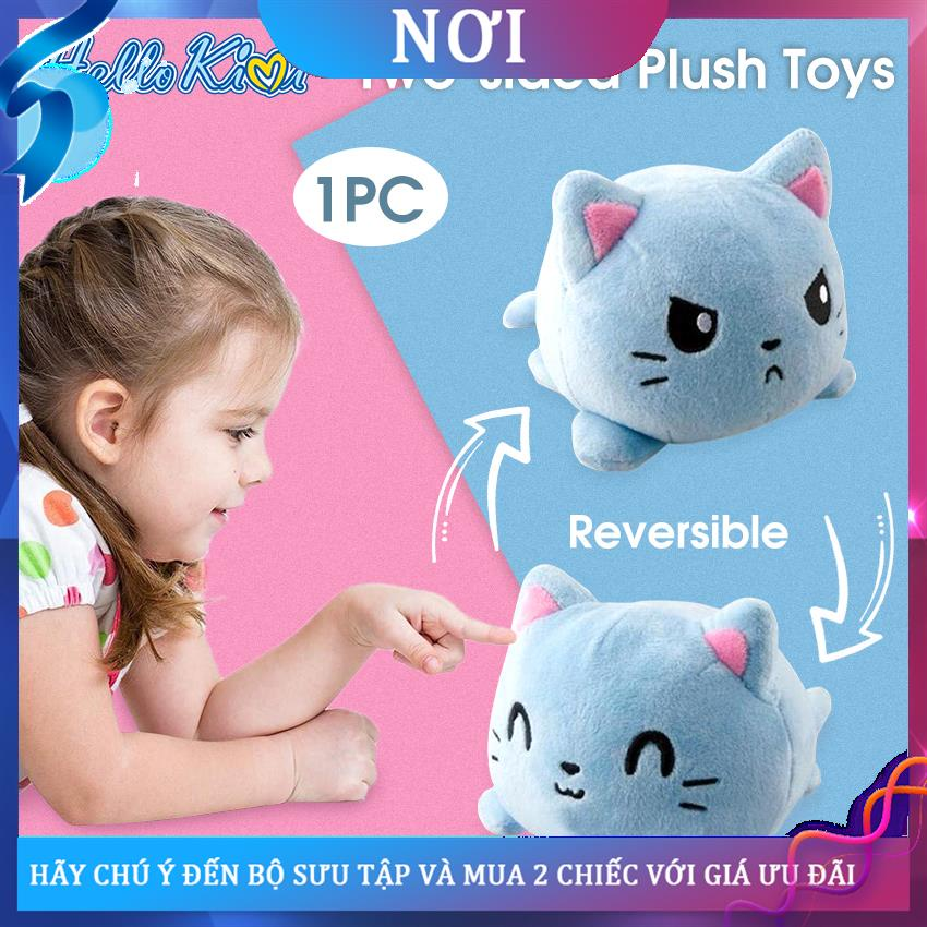 ▫✇✜HelloKimi Stuffed Toys Plush Doll Reversible Flip Cats Toys Double-sided Color Cat Stuffed Doll Soft Simulation Anima