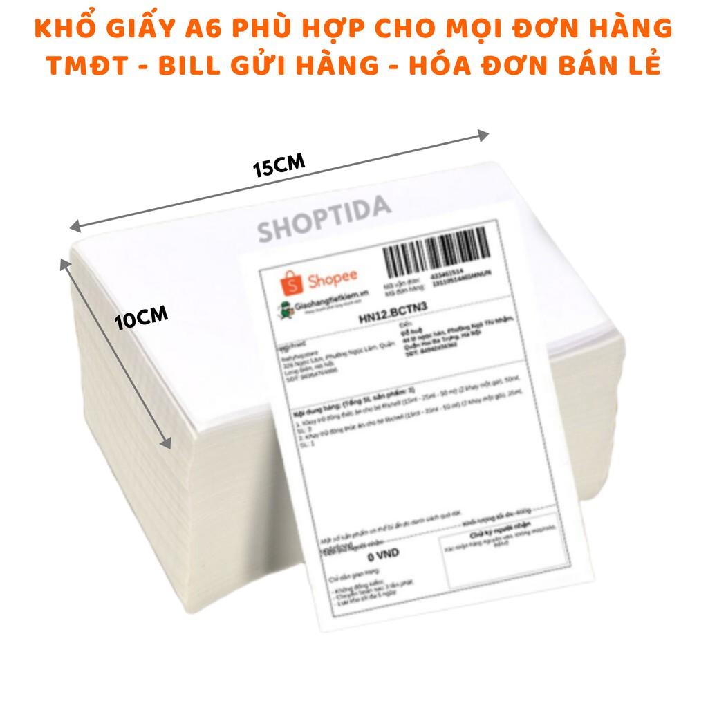 Giấy in nhiệt Shoptida 4000 tờ A6 10*15cm 3 lớp tự dán chống nước, sử dụng cho máy in nhiệt Shoptida SP46