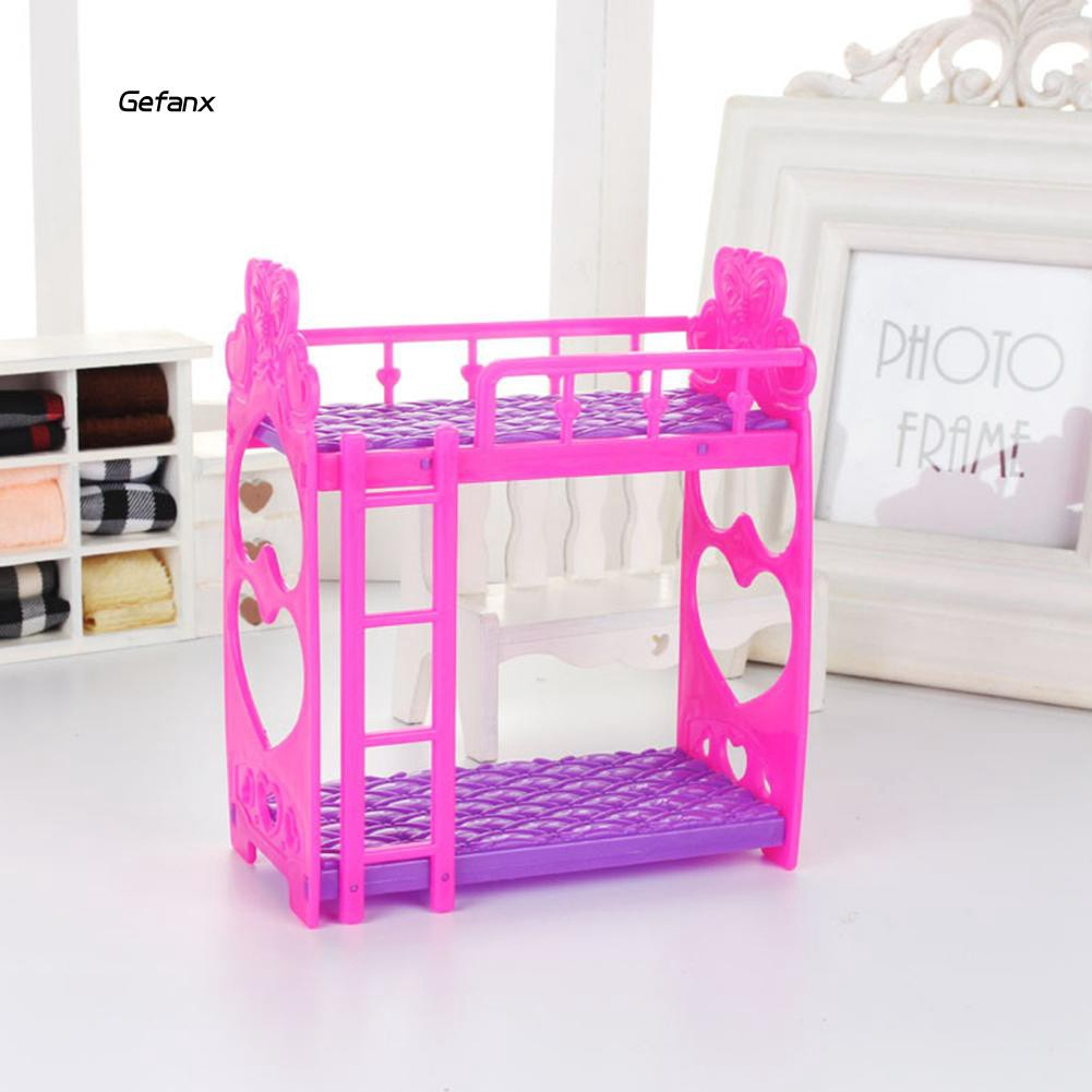GEFX_Miniature Double Bed Furniture Dollhouse Play House Toys Decoration Supplies