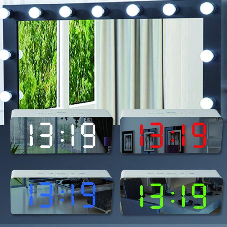 Mirror LED Time Display Light Digital Night Temperature Desk Table Alarm Clock 474