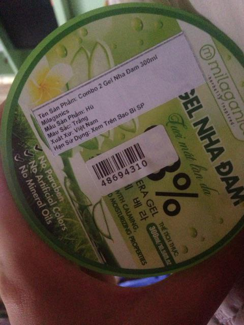 Đánh giá sản phẩm Combo 2 Gel Nha Đam Tươi Mát Làn Da Milaganics (300ml/Hộp) của huongle16201
