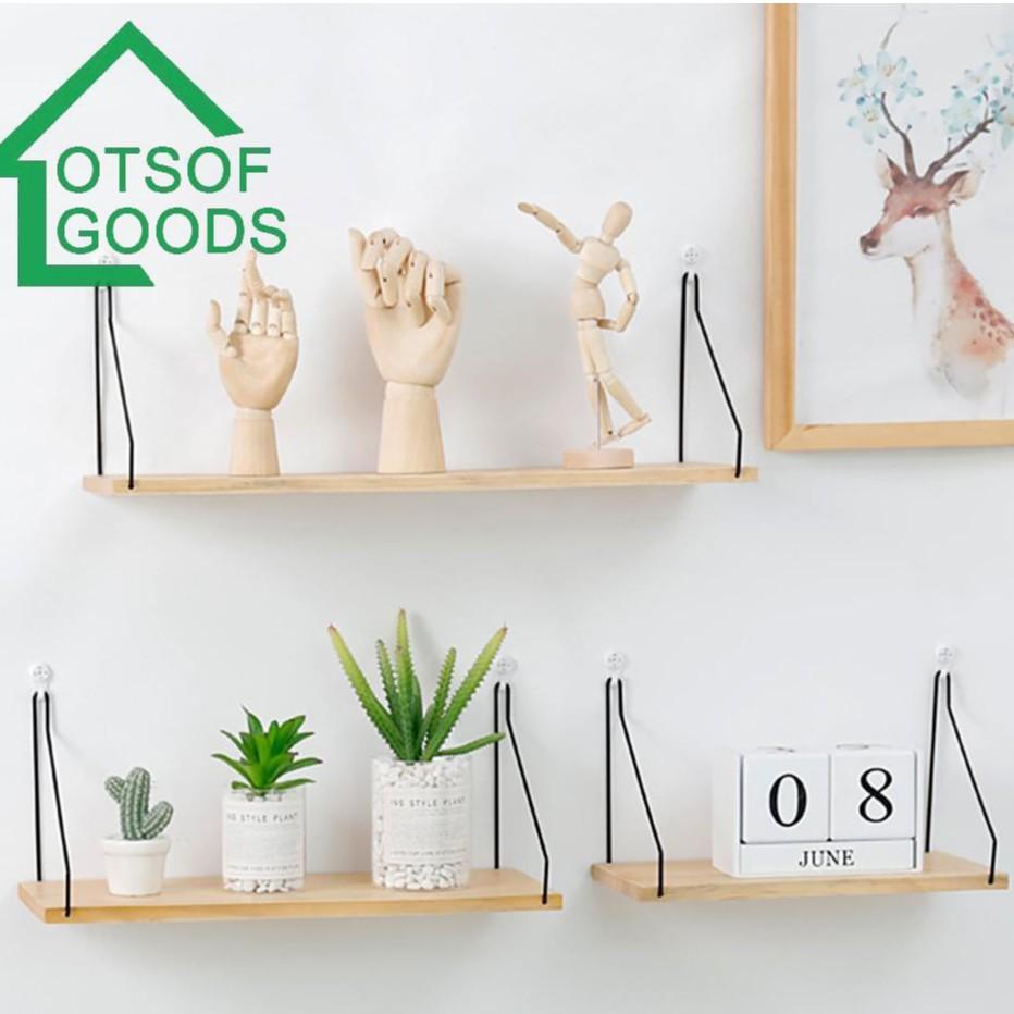 Kệ treo tường kết hợp chất liệu gỗ và sắt sáng tạo dùng trang trí nhà/nội thất