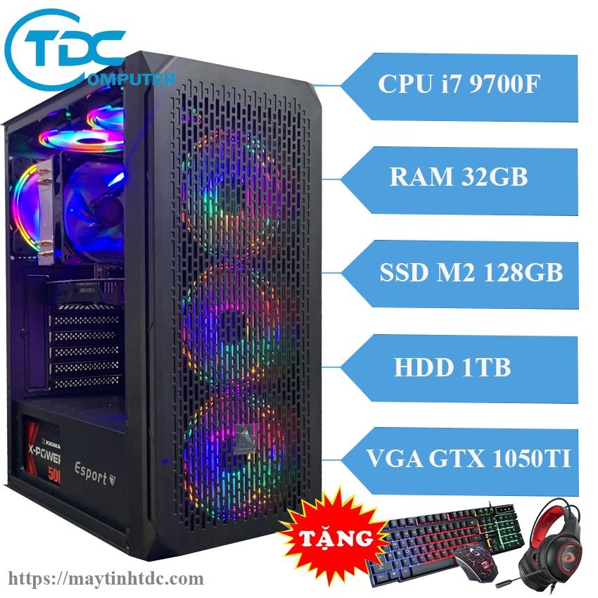 Máy tính chơi game PC Gaming cấu hình khủng CPU core i7 9700F, Ram 32GB,SSD M2 128GB, HDD 1TB Card 1050TI + QUÀ TẶNG