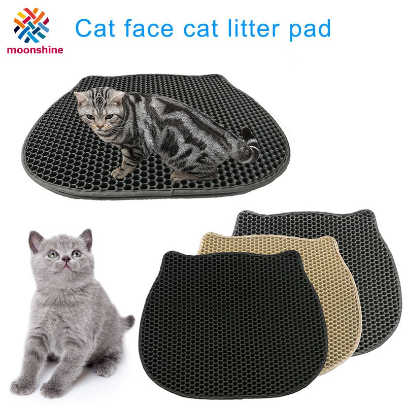 Kitty Face Shape Cats Sand-mat Litter Pad Cute Lightweight Cleaning Tool for Pets