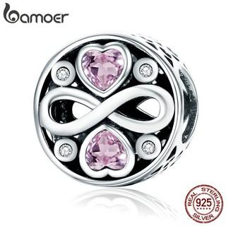 Phụ kiện hạt charm Bamoer thiết kế hoa văn trang trí dây chuyền/vòng tay mạ bạc 925 đính đá sang trọng