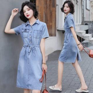 Đầm Jean nữ cao cấp thiết kế thắt eo trẻ trung, phong cách thanh lịch NV0060