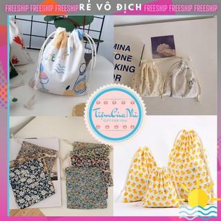 Túi vải dây rút mini cotton pha lanh đựng đồ dùng cá nhân đồ trang điểm in hình họa tiết hoa lá 14X16CM Tiệm Của Nhi thumbnail