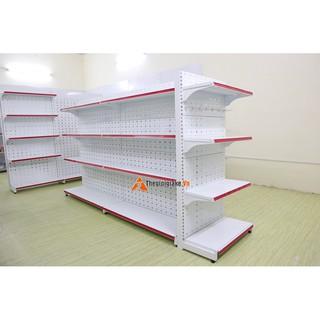 Kệ siêu thị đôi tôn lỗ 4 tầng mâm STT08