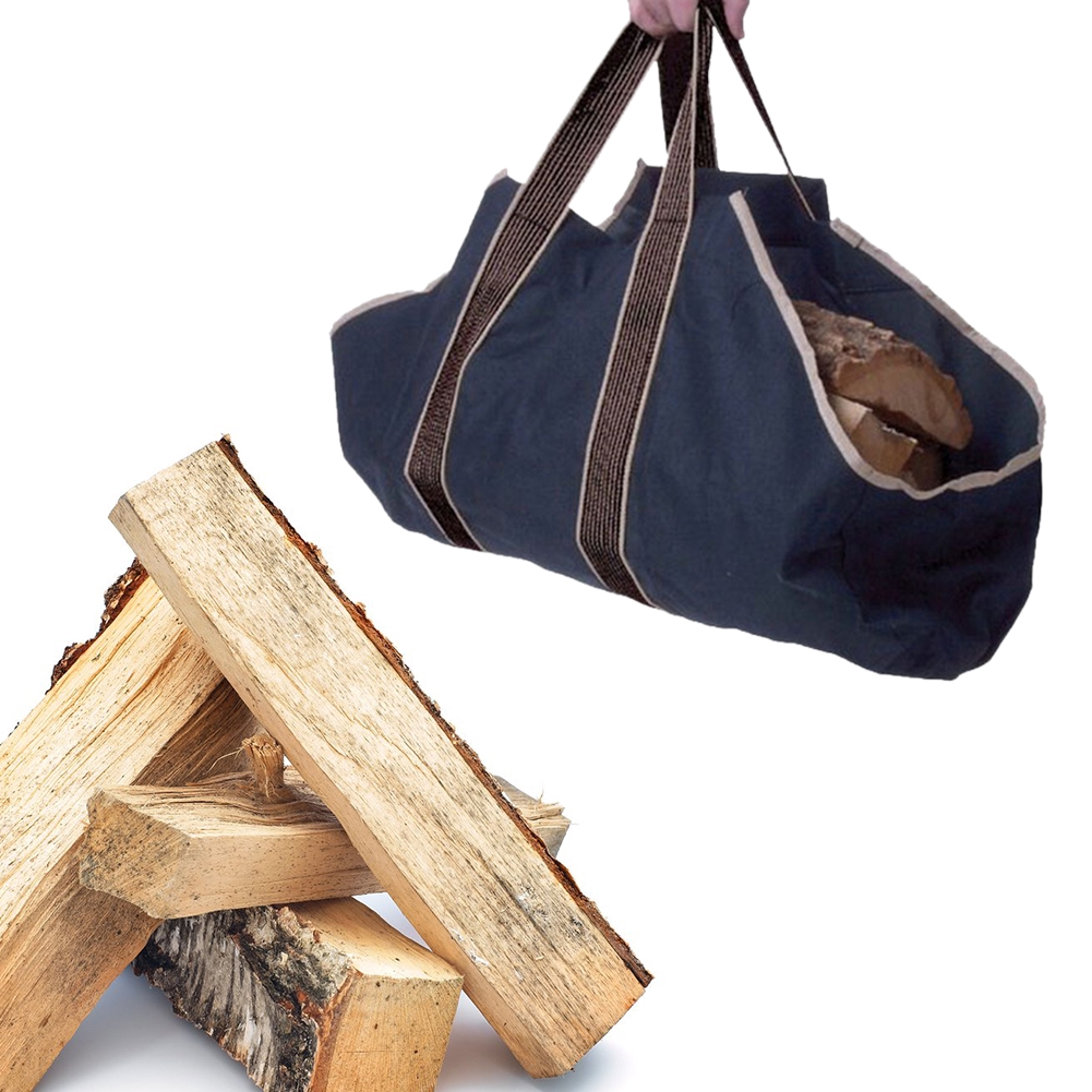 Canvas Large Firewood Log Holder Storage Bag Carrier Indoor Round Rack Tote Wood