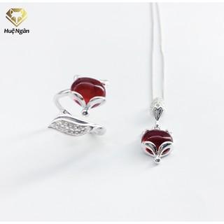 Combo dây chuyền và nhẫn bạc Ý 925 Huệ Ngân - Hồ ly may mắn PP1761-RR1618