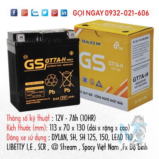Bình ắc quy GS GT7A-H - Bảo hành chính hãng 6 tháng