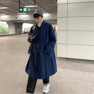 ♠℗▣Woolen coat men s mid-length horn buckle design sense Korean style trendy handsome thickening couple windbreaker winter