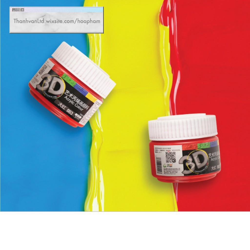 Màu Acrylic 3D 100ml 300ml 500ml ĐỦ BẢNG MÀU vẽ vải gỗ đá nhũ chất liệu 100 300 500 ml