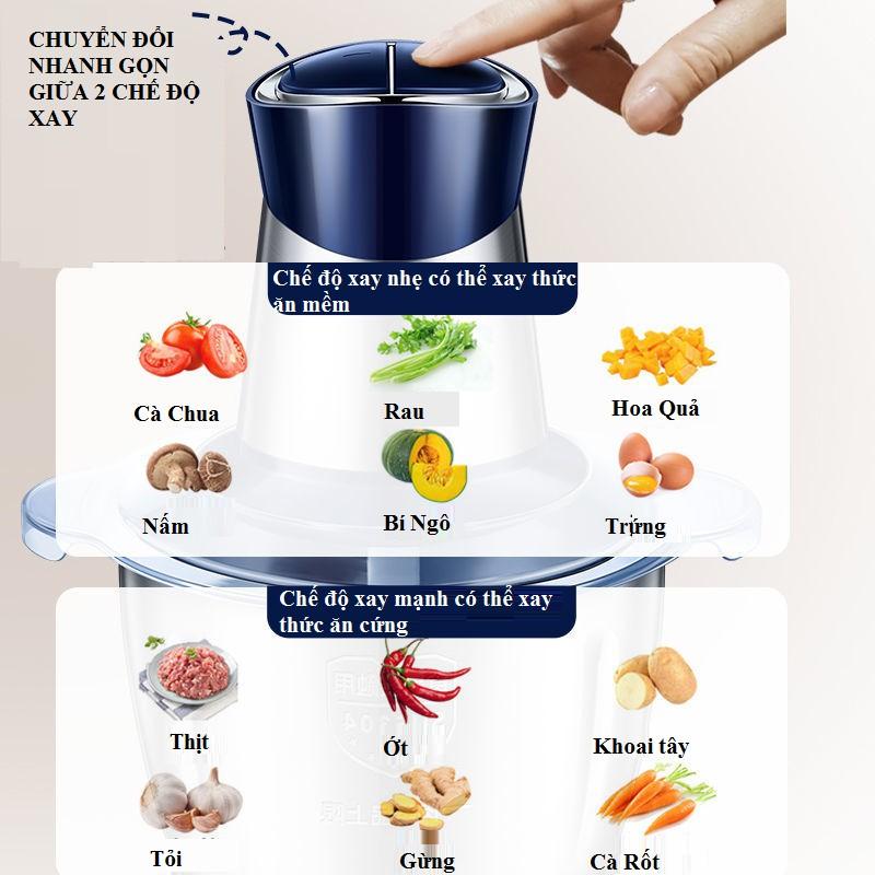 Máy xay thịt xay thực phẩm đa năng như cua cá sinh tố rau quả cối inox dung tích 2 lít, 3 lít loại tốt - Video thật
