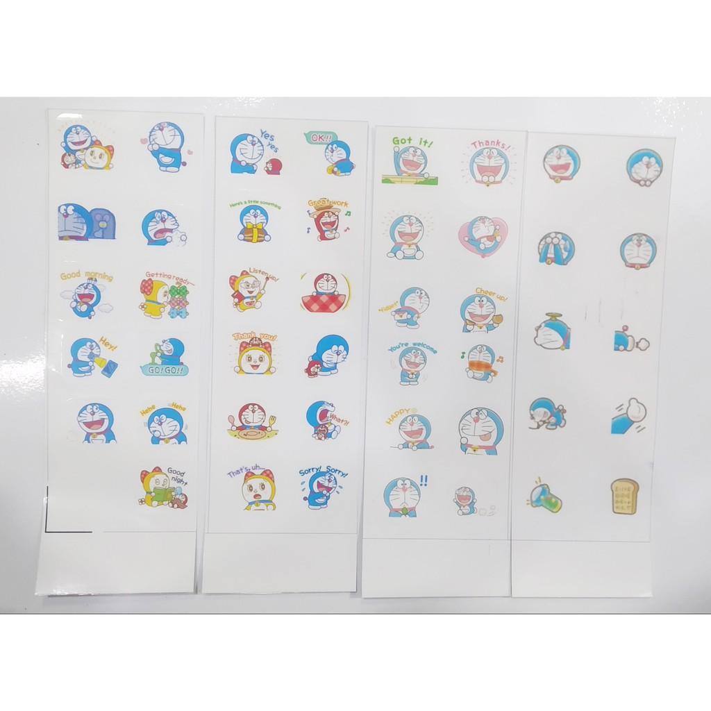 sticker doraemon SI15 hình dán dễ thương trang trí dán sổ dán điện thoại 1 tờ 7*19,5cm bullet journal