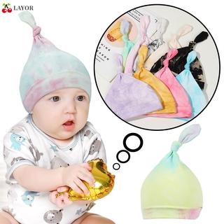 💜LAYOR💜 Cotton Baby Hat Elastic Fetal Cap Children Cap Knot Tail Beanie New Boys Girls Tie-dyeing Newborn