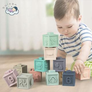 【RYT】 12 pcs Baby Building Blocks Toy 3D tangan sentuh bisa Bite Toy