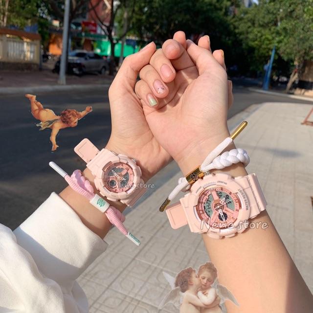Đồng hồ nam, nữ PINK 3 kim unisex dây nhựa kiểu dáng dễ thương dành cho học sinh