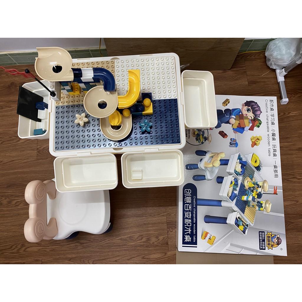 Bộ Bàn Đồ Chơi Lego 3 Chức Năng Cho Bé Sáng Tạo ( Đã Bao Gồm 130+ Chỉ Tiết LEGO)