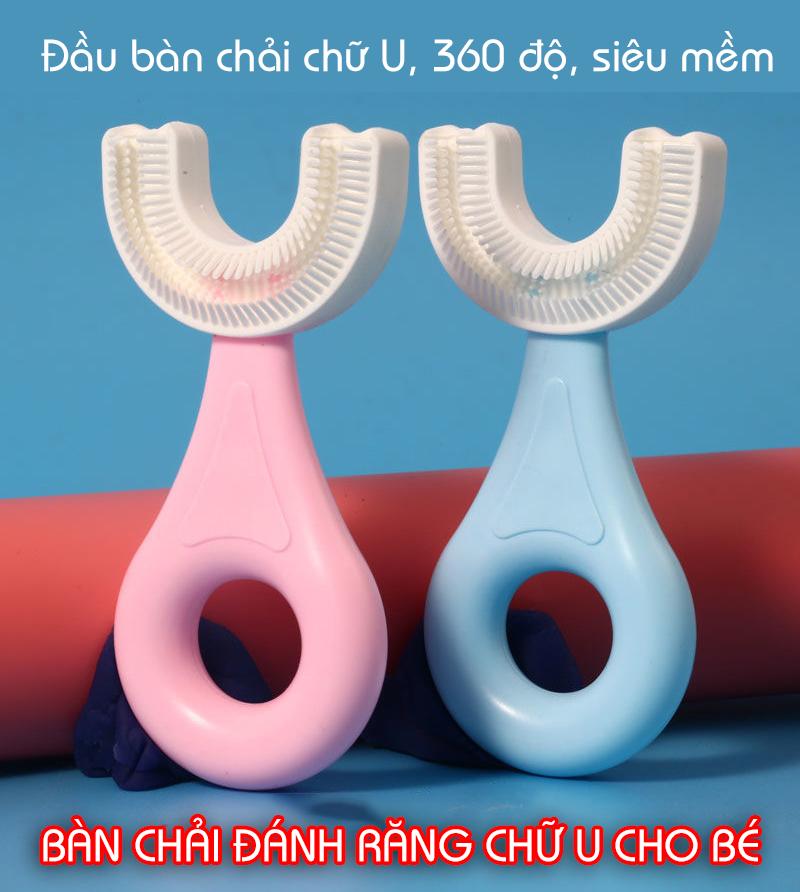 Bàn Chải Đánh Răng trẻ em Silicon Hình Chữ U, Bàn Chải Tập Đánh Răng Cho Bé Từ 2 - 6 Tuổi