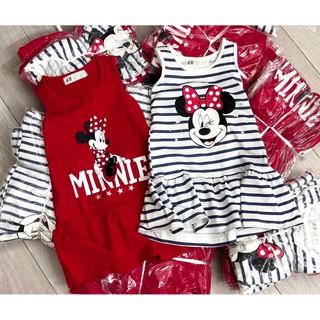 Váy HM mickey bé gái, sát nách, đỏ vang và kẻ sọc, xuất dư