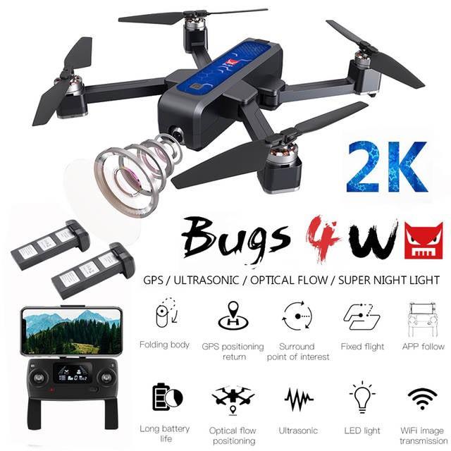 [ COMBO 2 PIN ] Máy Bay Flycam MJX Bugs 4W Cánh Gấp , Camera 2K , Cảm Biến Bụng , Pin 22 Phút , Bay Xa 1.6KM