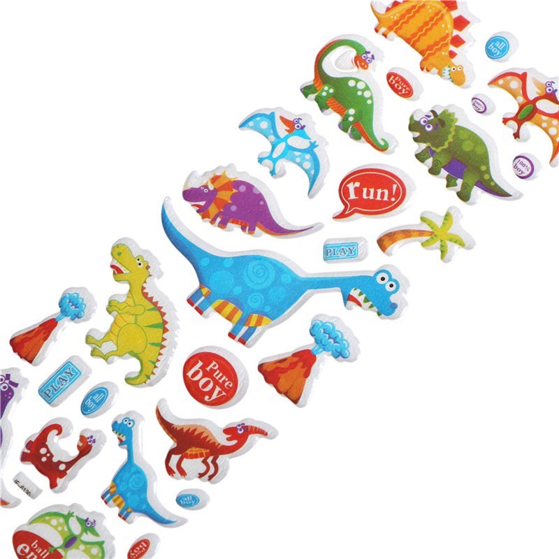 Specialhour 5 Sheets Cute Dinosaur Bubble PVC Stickers Cartoon Kids Classic Toys Stickers
