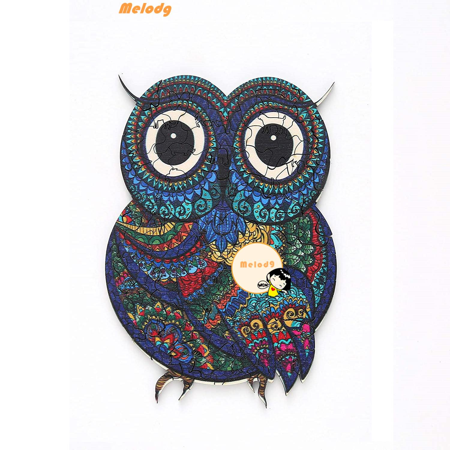 💍MELODG💍 Gift Wooden Jigsaw Puzzles Animal Educational Toys Wood Puzzle Toy Family Game Owl Adults Kids Unique Irregular Shape