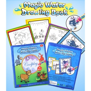 Water Drawing Book with 2 Magic Pens Kids Painting book Farm Animal Theme Toys