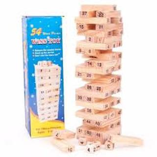 Bộ đồ chơi rút gỗ Wiss Toy 54 thanh kèm 4 con súc sắc