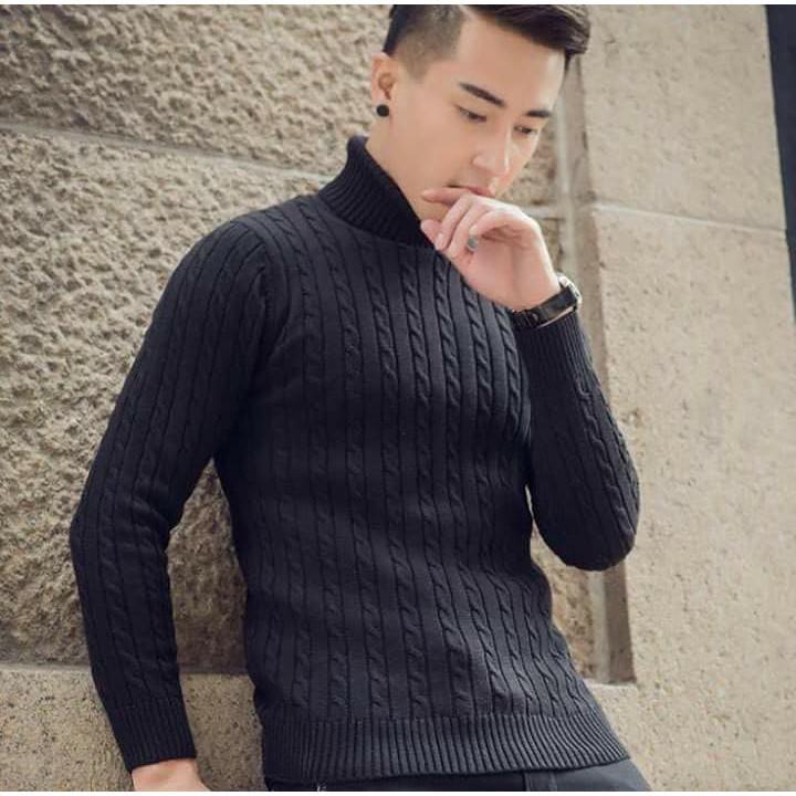 Áo len cao cổ phong cách hàn quốc - Áo cổ trụ