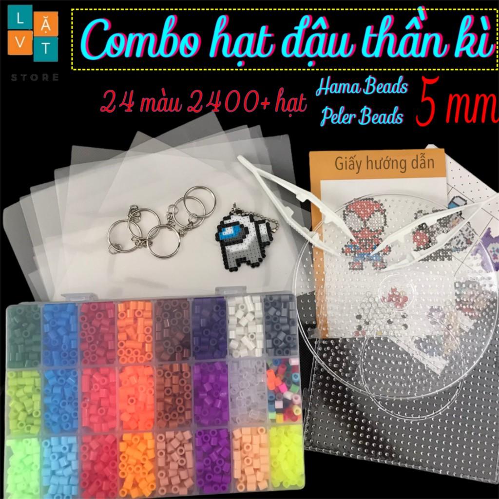 [Mã SKAMPUSHA7 giảm 8% tối đa 50K đơn 250K] Bộ 2400 hạt nhựa gồm 24 màu và dụng cụ cơ bản, hama beads, perler bead