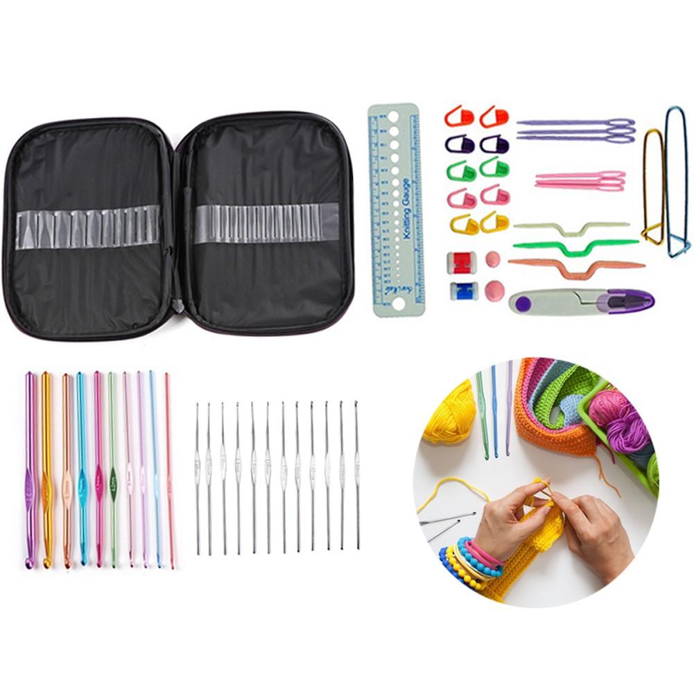 ♥superH♥49pcs Crochet Weaving Tool DIY Knitting Needles Measure TapeSewing Scissors Hook