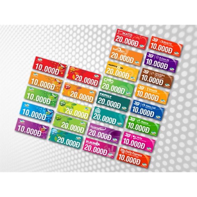 Thẻ cào 10-50k các mạng ( GỬI MÃ THẺ SAU KHI ĐÃ NHẬN HÀNG)