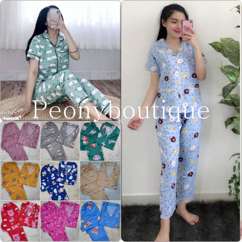 Set Pijama Quần Dài Nữ 🌸 Bộ đồ ngủ áo cộc tay pizama hoạt hình Kate full viền SIÊU HOT 🌸