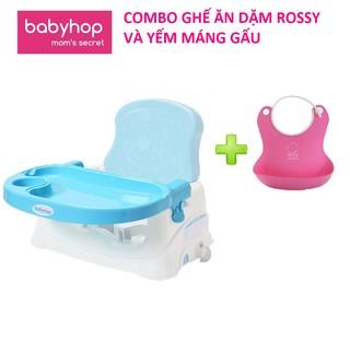 Combo Ghế ăn dặm Rossy babyhop kèm yếm máng gấu cho bé từ 6 tháng đến 3 tuổi hàng chính hãng có bảo hành thumbnail