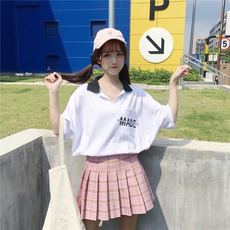 ORDER (có ảnh thật) áo polo cánh dơi tay lỡ dáng cực rộng chữ MADE phong cách ulzzang Hàn