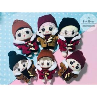 {15cm-20cm} CÓ SẴN, combo áo khoác mũ len, outfit doll, outfit cho doll