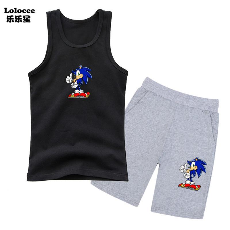 Bé trai Phim hoạt hình Sonic Hedgehog Bộ quần áo Bé trai Xe tăng không tay và quần sooc 2 mảnh Bộ quần áo Bé trai Bộ thể thao