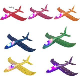♞Colorful Manual Airplane Aircraft Toy with Light Throwing Hand Glider Kids Gift