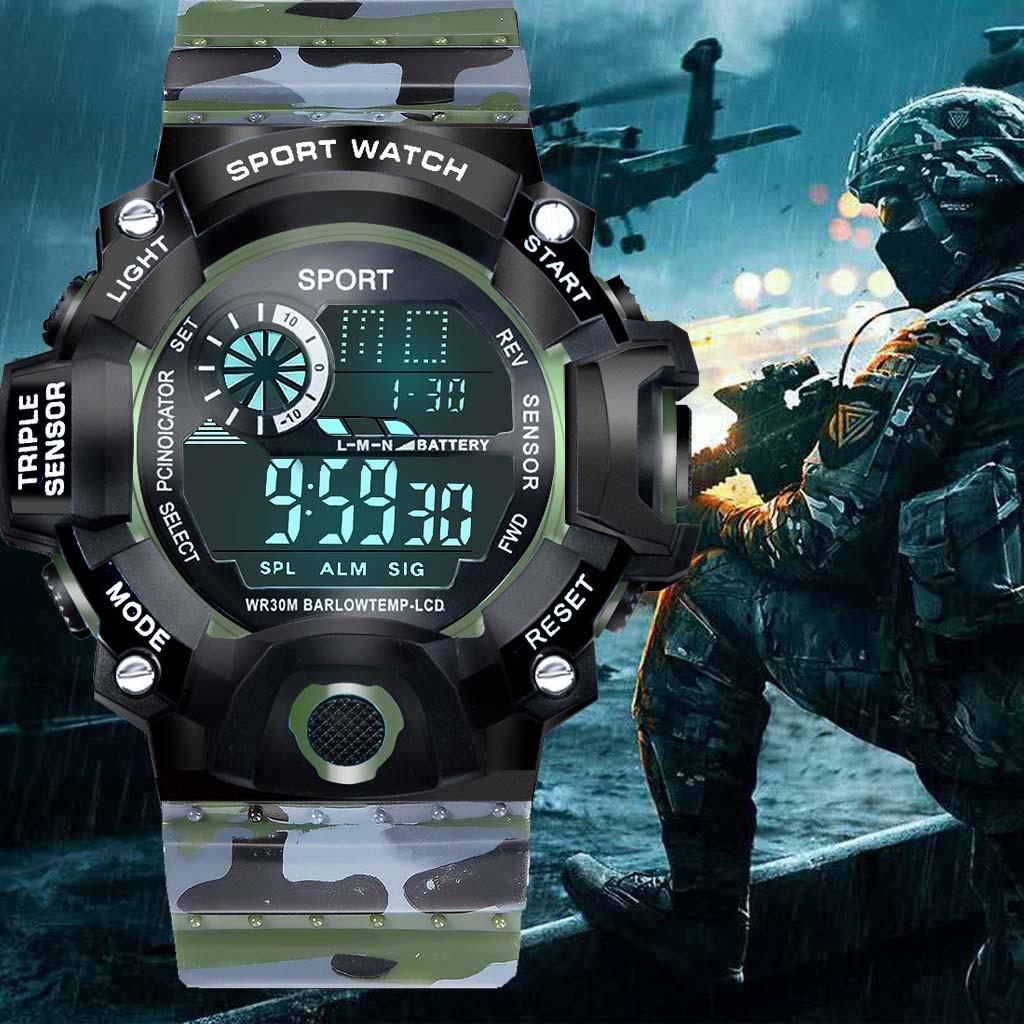 Đồng hồ thể thao điện tử nam SPORTS style QUÂN ĐỘI KB665 đèn led ban đêm, đầy đủ chức năng cơ bản dây nhựa silicon